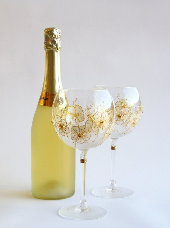 Hand Painted Baloon Wine Wedding Glasses Set of 2 White Gold Flowers and Swarovski Crystals