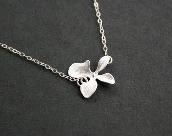 Orchid necklace, orchid flower necklace, bridesmaid gift, flower girl necklace, wedding jewelry, bridal shower gifts, Everyday