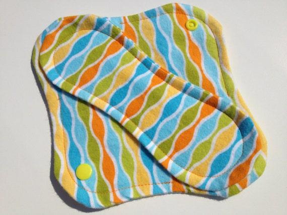 Reusable Cloth Panty Liner Summer Blue Ripple Stripe