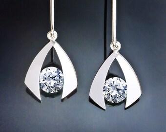 silver earrings, cz earrings, dangle earrings, argentium silver, statement earrings, holiday earrings, modern jewelry, for her -  2424