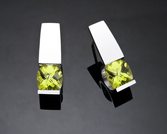 peridot earrings, August birthstone, gemstone jewelry, eco-friendly, Argentium silver, green earrings, modern jewelry - 2431