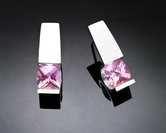 pink topaz earrings, silver earrings, Argentium silver, baby pink topaz, eco-friendly, wedding earrings, tension set, modern earrings - 2431