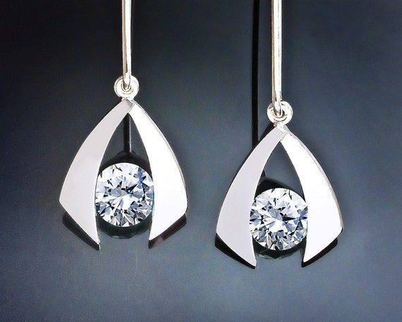 Cubic Zirconia Statement Dangle Earrings