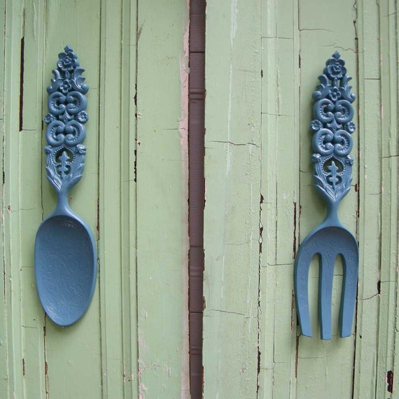 Oversized Spoon and Fork Vintage Mid Century  Wall Decor in Wedgwood Blue