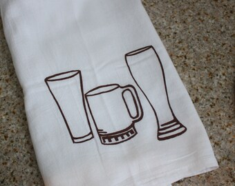 Beer Glass screen printed Flour Sack kitchen towel