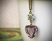 Vintage Rhinestone Heart Necklace, Rose Smoke, Purple,Lavender