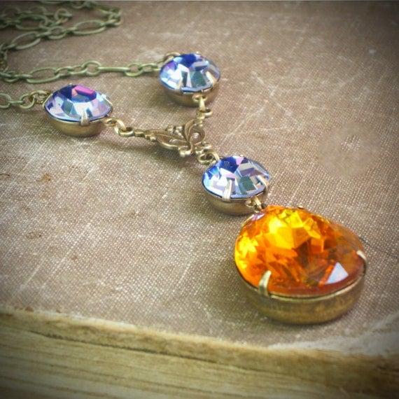 Topaz & Tanzanite Vintage Rhinestone Necklace, HOney Gold, Purple, Autumn
