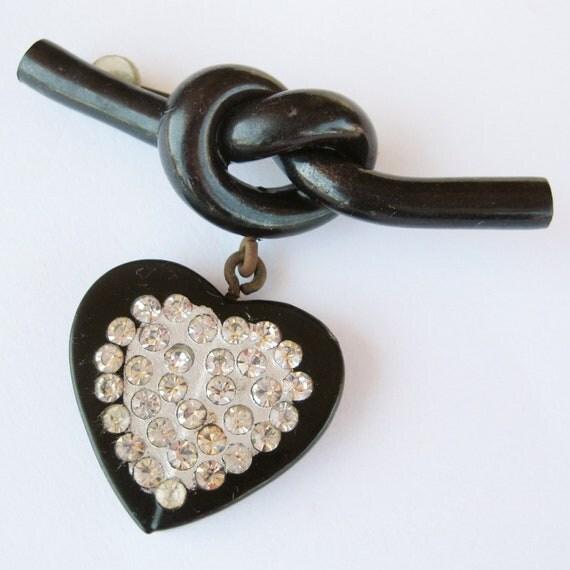 Tied up in Knots Vintage 40s Black Heart Bakelite Celluloid Rhinestone Dangle Brooch Knot Bar Pin