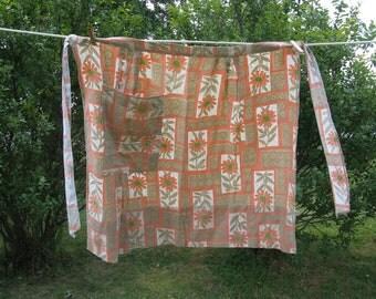 wildflower floral apron pocket pleats cotton larger size country cottage romantic french farmhouse