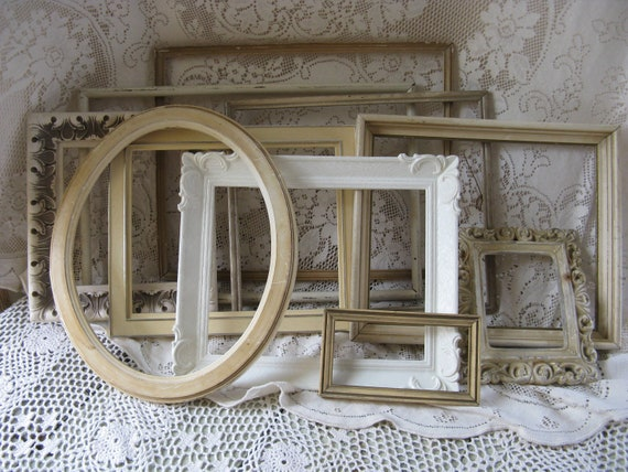 shabby frame collection set of 10 plaster wood plastic resin creams and gold weddings home decor