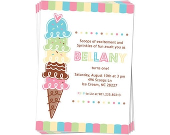 50% Off Sale! - PRINTABLE Pastel ice Cream Party Invitation