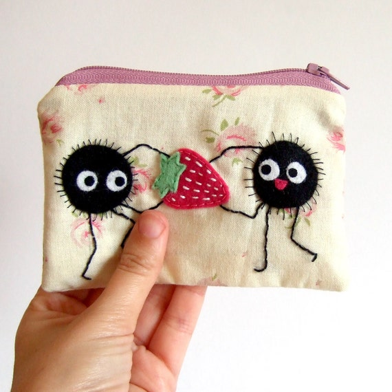 Soot sprite (kurosuke) with strawberry pouch / coin purse, wallet from my neighbor totoro / spirited away with stars