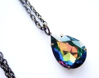 LAST ONE Rainbow Tear Drop Crystal Necklace