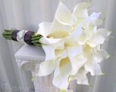 Wedding bouquet white cream calla lily Bridal bouquet Silk wedding flowers