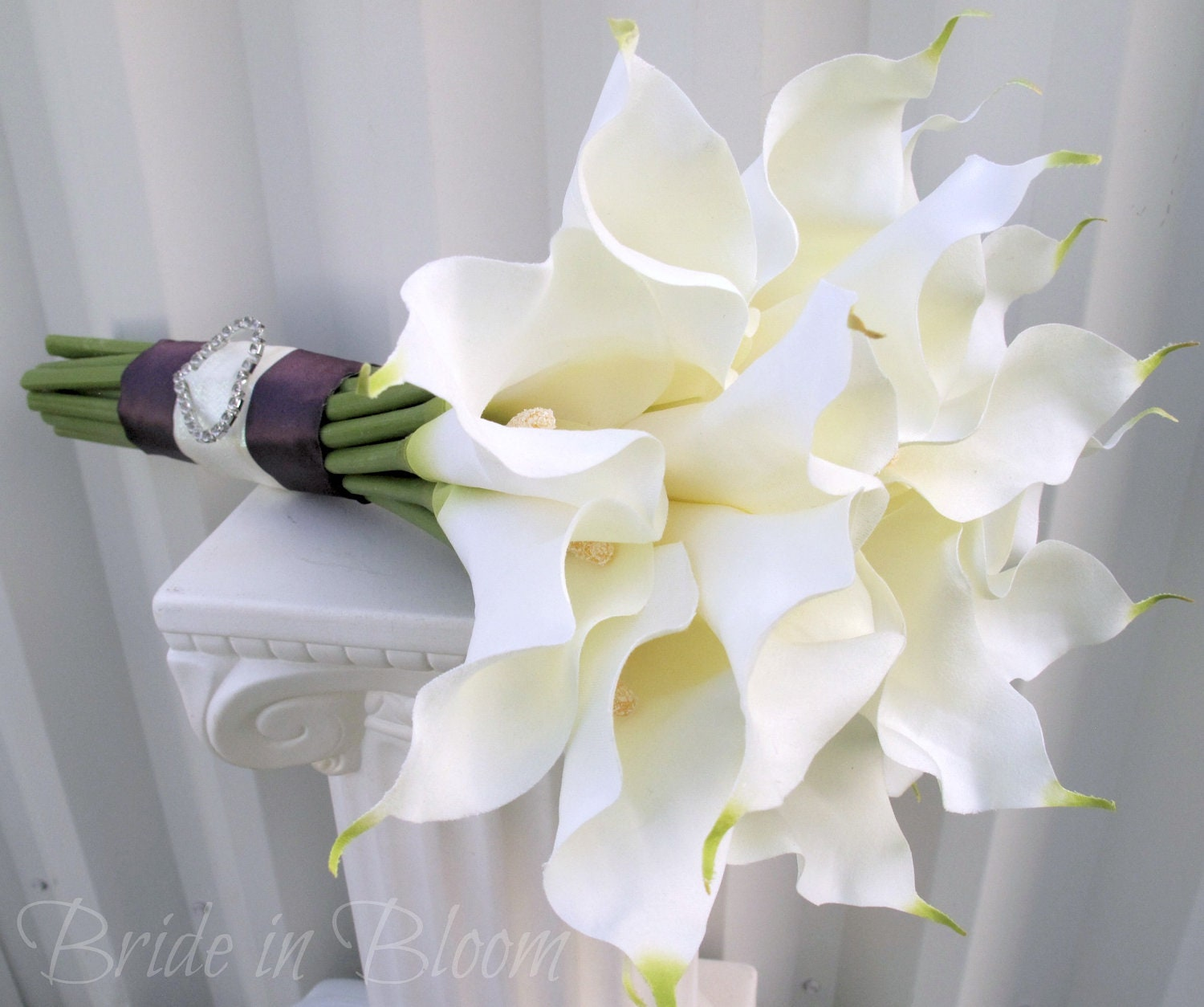 Wedding Flower Arrangements With Lilies : Items similar to wedding bouquet white cream calla lily bridal silk flowers on etsy