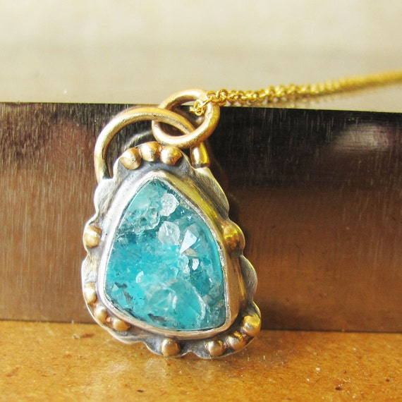 Blue Druzy and Gold Necklace  - Gold and Silver Pendant