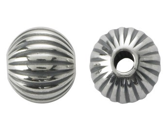 10 Sterling Silver 6mm Round Oxidized Corrugated Bead