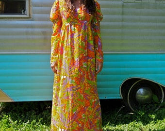 Vintage Maxi Dress Psychedelic Neon Juliet 60's/70's  Rennaissance Crepe Fabric Size Medium