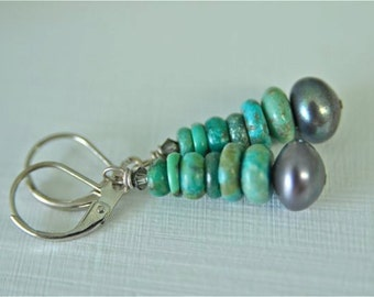 Turquoise Earrings with Freshwater Pearls and Rhodium Leverback Earwires . Handmade in Maine by North Atlantic Art Studio