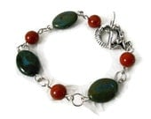 Blue Green Rust Red Stone Bead Bracelet
