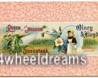 1910s Queen Meadow Milk Maid NY Oneida County Succotash Label Westernville