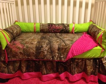 Camo RealTree with lime & pink baby Crib Bedding Set with Minky Dots and FREE Monograms