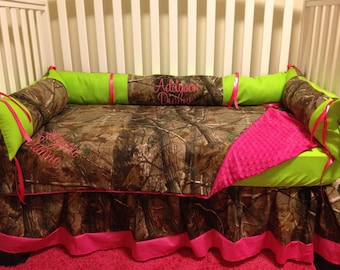 5 pc crib set Camo RealTree fabric with lime & pink baby Crib Bedding Set with Minky Dots and FREE Monograms and Diaper Stacker
