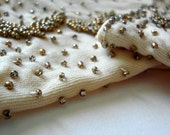VIntage Gloves 1950s Beaded Beige Christmas in July Sale