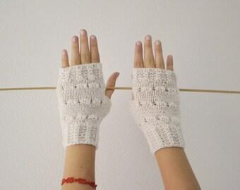 Fingerless gloves white knit mittens for women winter accessories handmade Christmas gift for her
