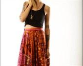 Bohemian Tie Dye Abstract Vintage Maxi Skirt--S/M