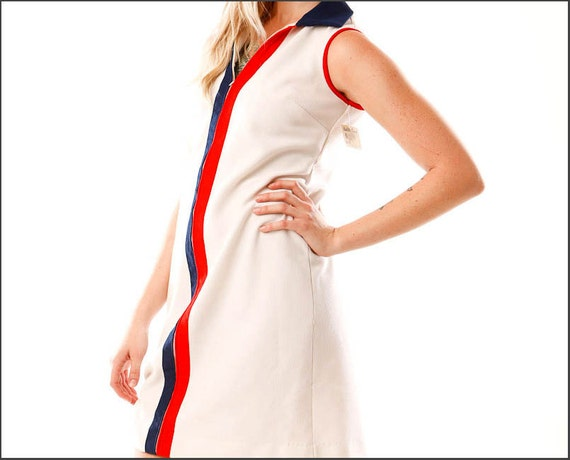Miss Americana Mid-Century Red White and Blue Shift Dress--M