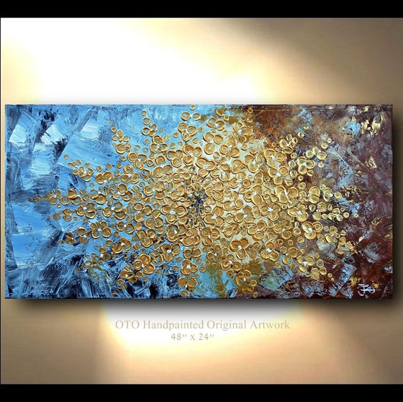 COMMISSION Original Gold Flower Painting Abstract Landscape Artwork Heavy Textured 48x24 Modern Contemporary art Made to Order by OTO