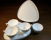 Vintage Milkglass Snack Set, Triangular Plates, Floral Design, Set for Four