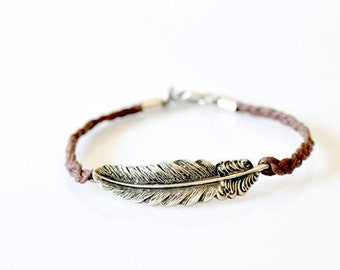 Feather Braided Bracelet - Brown