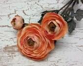 Artificial Flower Spray - NEW Peach Pink Ranunculus Flowers ON STEM - Ranunculus Spray