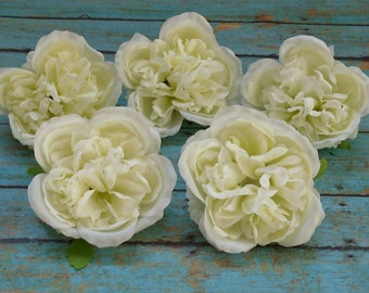 Silk Flowers - FIVE Cabbage Roses in Cream White - Artificial Flowers