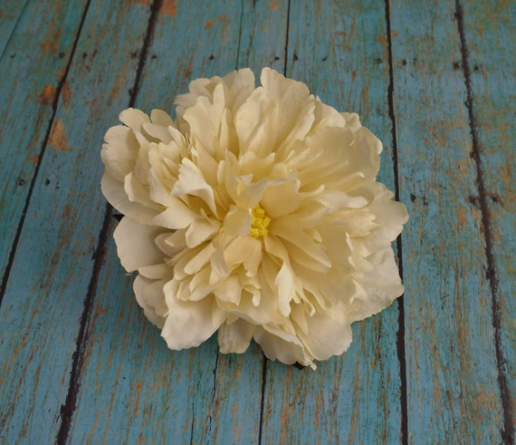 Silk Flowers - One Large Cream Peony - 5 Inches - Artificial Flowers