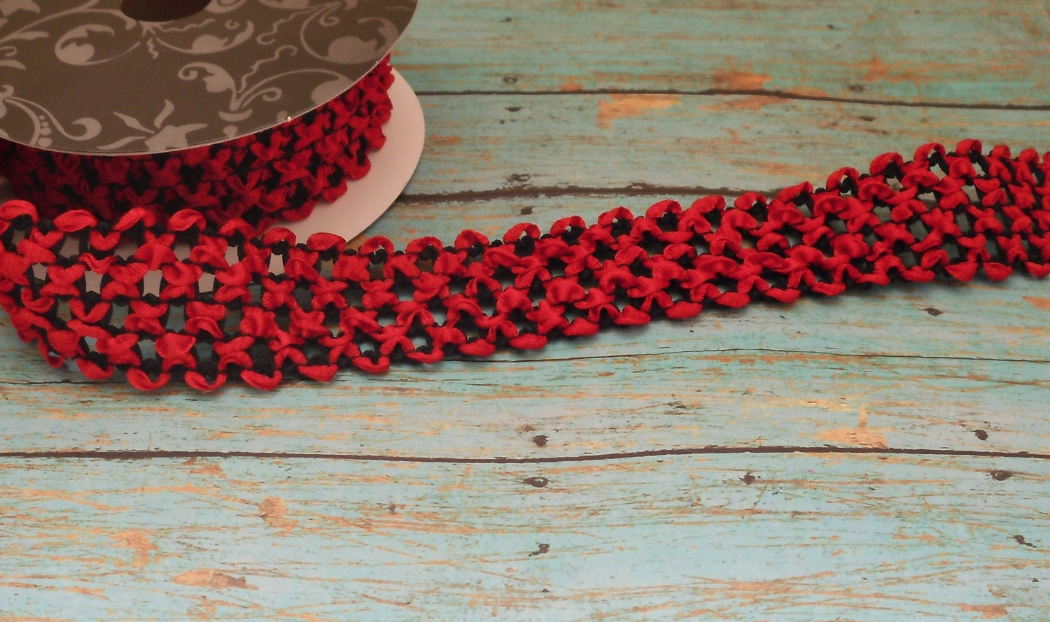 Black headbands for crafts - Red And Black Elastic Waffle Crochet Ribbon 2 Yards X 1 5 Inches For Crafts Headbands Couture Ribbon