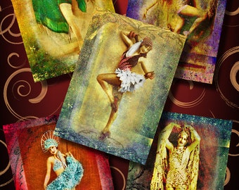 The Ladies Who Dance Dancers Digital Collage Sheet 2.5 x 3.5 ACEO ATC Cards Ephemera Embellishments Backgrounds Tags Grunge Printable