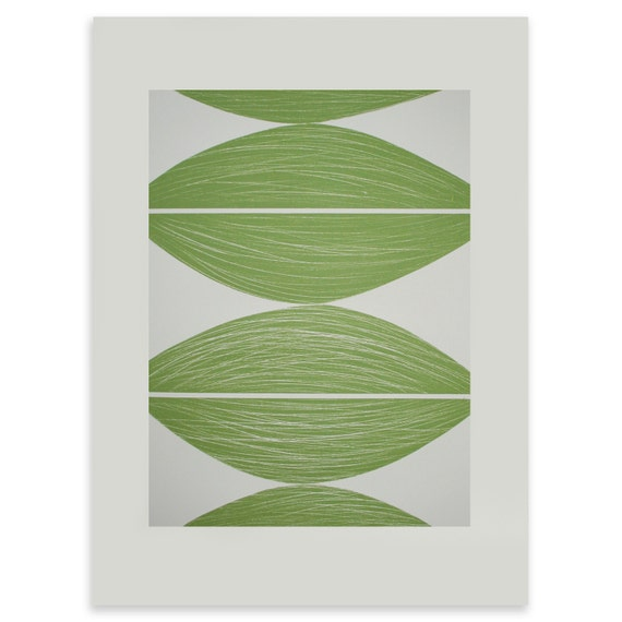 Four Seeds - large original screenprint with textural detail in green and cream on lovely fine art Fabriano paper