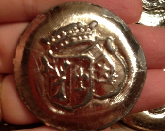Group of 5 Large Silver Metal Round Vintage Buttons