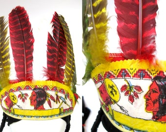 Indian Princess Costume Native American Feather Headdress - Vintage 50s Halloween First Nations Village People Headband Bright Toy Hat