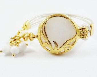 White Ivory Turkish Leather Bracelet - Exotic Organic Bohemian Gold Plated, Jade, Metallic Pearl Cord - Christmas
