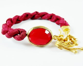 Clear / Translucent  Red Quartz & Silk Turkish Stackable Bracelet - Gold Plated - Fall Fashion