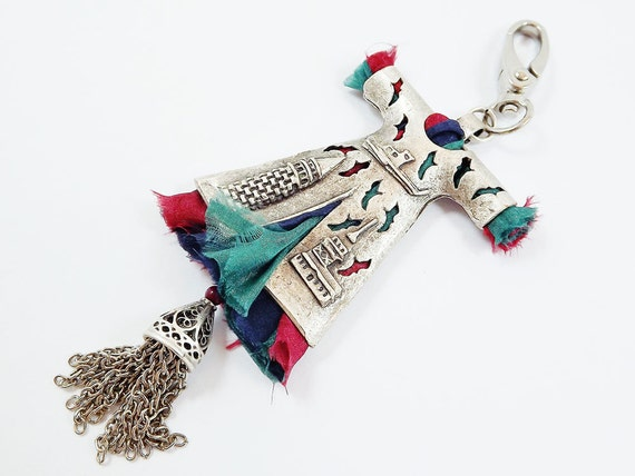 Limited Edition Turkish Caftan Keychain or Bag Charm - Green, Red, Navy with Tassel