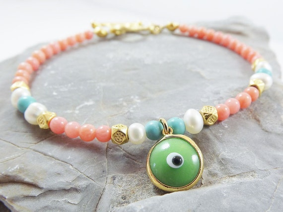 Delicate Green Lucky Evil Eye Stacking / Friendship Bracelet with Pink Coral , turquoise stone & Freshwater Pearl beads - Summer fashion