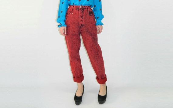 Red Denim Stonewashed Jeans 1980s High Waist Small
