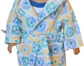 SALE - American Girl Clothes - Yellow Blue Flower Robe & Pj Set