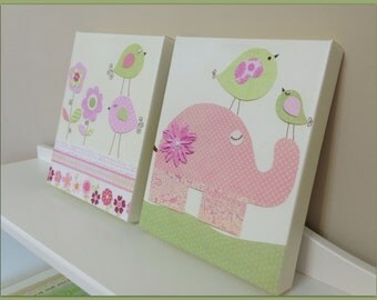 Baby girl Room Decor, Nursery Wall Art canvas, baby girll room art, wall art decor, 2 canvas pictures 11x14, pink and green, love birds