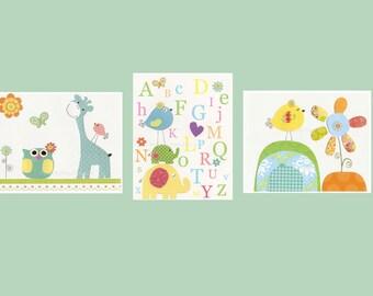 Jungle Nursery Wall Art - Set of 3 8x10 Nursery Decor With Jungle Animal Friends - Neutral Colors Nursery Green Orange Yellow Nursery Art